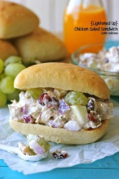 Light Chicken Salad: 1 lb. chicken breast (chopped); 1/2 c. diced red onion; 1/2 c. diced apple; 2/3 c. grapes, halved; 1/3 c. dried cranberries; 1/4 c. sliced almonds; 1/2 c. Greek yogurt; 1.5 T. lemon juice; 1/2 tsp. garlic powder; salt & pepper. : foodpinsnow.com