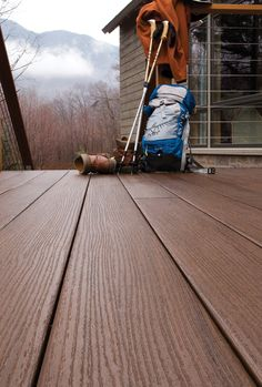 AZEK Arbor Collection decking in Acacia. Our decks are built to last beautifully even under winter's harshest conditions!