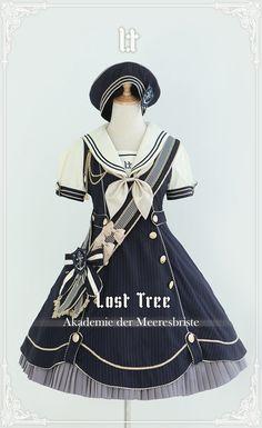 Lost Tree -Akademie der Meeresbriste- Lolita OP dress is available at >>> Harajuku Fashion, Kawaii Fashion, Lolita Fashion, Cute Fashion, Girl Fashion, Fashion Outfits, Rock Fashion, Gothic Fashion, Style Lolita