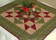 Christmas Table Topper Quilted Winter Table by RedNeedleQuilts