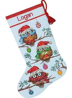 Holiday Hooties Christmas Stocking Counted Cross Stitch Kit
