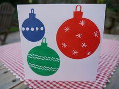 Lino Printed Christmas Card, Baubles £2.00