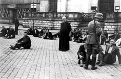 """A Polish Priest and other civilians who were later executed, are held hostage by the Germans as reprisal for the killings of members of the German minority on """"Bloody Sunday"""", September 1939 in Bydgoszcz, Poland - Invasion Of Poland, Poland Ww2, Catholic Priest, German Army, Interesting History, World History, Jewish History, World War Two, Sisters"""