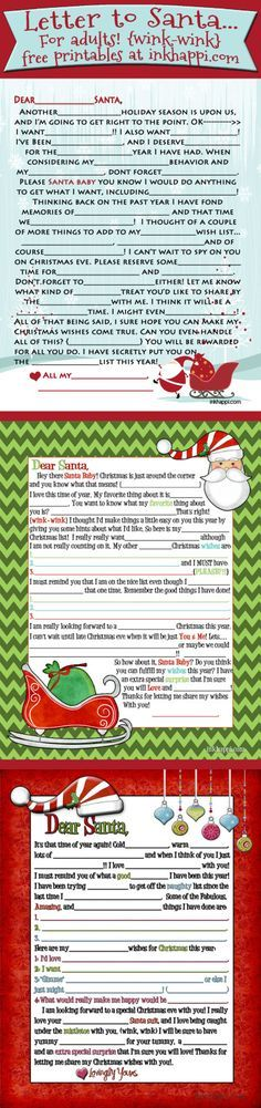 {wink-wink} 2014 version is here Adult Santa letter {wink-wink} Mad lib style! This includes and now 2014 versions! This includes and now 2014 versions! Christmas Gifts For Adults, Adult Christmas Party, Christmas Party Games, Christmas Activities, Christmas Printables, Christmas Holidays, Christmas Wishes, Craft Activities, Funny Christmas Games