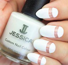White manicure with nail art using Jessica Cosmetics nail polish!