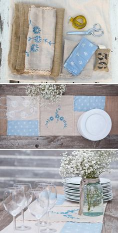 Turn a collection of heirloom linens into a sentimental table runner perfect for a vintage-themed wedding. #etsy #DIY