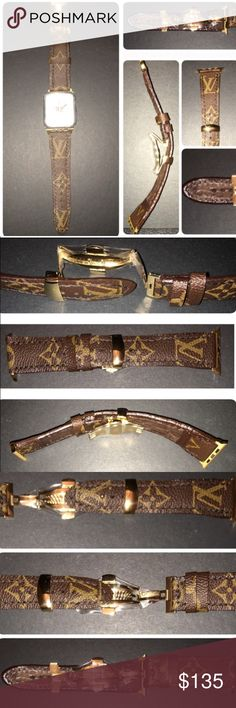 """Auth UPCYCLED Handmade LOUIS VUITTON iWatch Strap Custom HANDMADE UPCYCLED iWatch strap handmade from an AUTHENTIC Vintage LOUIS VUITTON monogram canvas handbag. Compatible with Apple iWatch, Edition & Sport 42mm models only. Band Width: fits with 24mm flat lug, comes with 24mm Gold deployant buckle. Length: 120/72mm when fixed together. Total range 130mm to 175mm (5.5"""" to 6.75"""") High quality material used... Leather lining. RITZA TIGER THREAD saddle stitching, Waxed thread and KOTE edging…"""