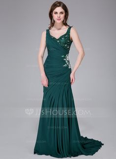 Trumpet/Mermaid V-neck Sweep Train Chiffon Lace Evening Dress With Ruffle Beading Sequins Split Front (007040790)