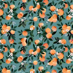 Dear Clementine - oranges teal by Crystal Walen Duvet Cover by Crystal W Design