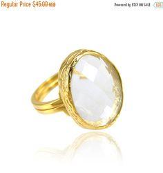 Holiday Sale - Clear Quartz Ring - Gold Gemstone Ring - Big Gemstone Ring - Oval Ring - Big Stone Ring - Freeform ring