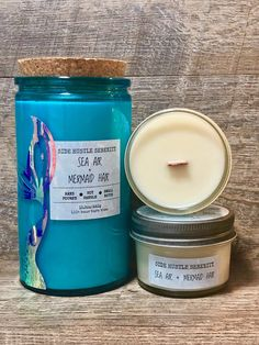 🧜🏼‍♀️🧜🏼‍♀️Your inner MERMAID is showing 🧜🏼‍♀️🧜🏼‍♀️Sea Air + Mermaid Hair | Sea Spray and Alalone Scented Wood Wick Soy Candle | Mermaid Lover Gift | Mermaid Hair Don't Care | Mermaid Tail | www.sidehustleserenity.etsy.com