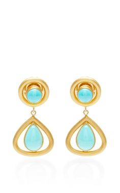 One of a Kind Turquoise Mid-Century Earrings by Mallary Marks for Preorder on Moda Operandi