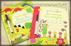 Livre jeunesse - travail d'écriture - Je trace, j'efface - Avec les dinosaures & La tenue du crayon - Editions Usborne