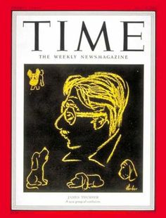 "His world, and welcome to it! James Thurber drew cartoons for ""The New Yorker,"" but vision problems forced him in later years to draw them supersized. Pictured: His self-portrait (and last drawing whatsoever). He also wrote (see ""Walter Mitty"" - drop everything and Netflix it now)."