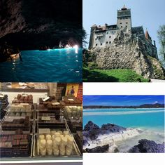 (Clockwise from left) Dive into the Blue Grotto in Capri, Italy; Visit Bran Castle - Dracula's Castle - in Transylvania, Romania; Take a chocolate walking tour in Brussels, Belgium; Soak up the hot waters in the Blue Lagoon, Iceland