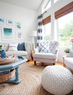 Come tour this beautiful lake house living room and kitchen summer home tour with Country Living at the happy housie-30