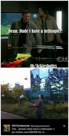 """Like the """"French Mistake"""" Jensen, real-life Jensen also has a helicopter."""