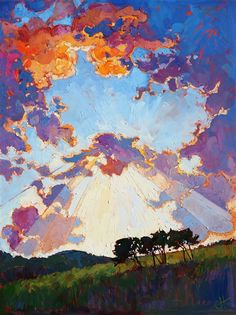 Limited Edition Print - Big Texas sky oil painting by master impressionism painter Erin Hanson