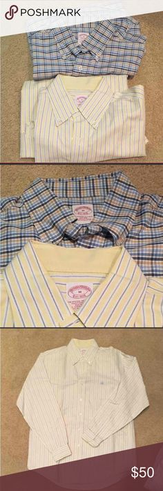 Brooks brothers shirts like new barely worn size M 50$ for one shirt, 90$ for 2   Medium  brooks brother's button down dress shirts.   Gently used, only worn a few times  Crisp and colorful. Can be dressy or casual.    Tags --- ; zumiez; miss me; buckle; victoria's secret, PINK, vintage;  converse; vans; lululemon; nike; louis vuitton; michael kors; lularoe; adidas; supreme Hollister American eagle cute clothes style fashion run running sport sports Kate spade Calvin Klein coach purse shoes…