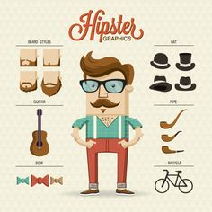 Hipster Style Free Vector by Ahmad gbr, via Behance