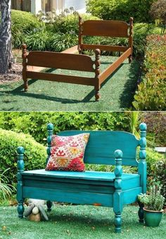 20 Creative Ideas and DIY Projects to Repurpose Old Furniture --> Bed Turned Into Bench #DIY #furniture #repurpose