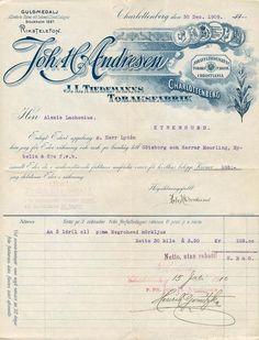 Faktura på 3 lådor prima Negrohead mörkljus cigarrer. fra Joh. H. Andresen, J.L.Tiedemanns tobakksfabr., Charlottenberg 1910