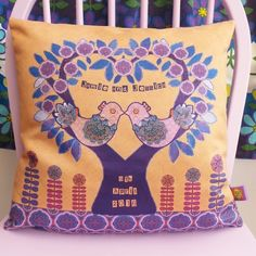 Personalised Wedding Gift Cushion Pillow Cover. Names. Love Birds. Bride & Groom £30.00