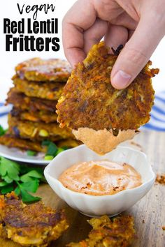 These potato fritters with red lentils are super easy to make and so delicious! They're best with spicy sriracha mayonnaise! Find more vegetarian recipes and vegan dinner ideas on veganheaven.org! #vegan #veganrecipes #recipes #healthyrecipes #dinnerideas #vegetarian