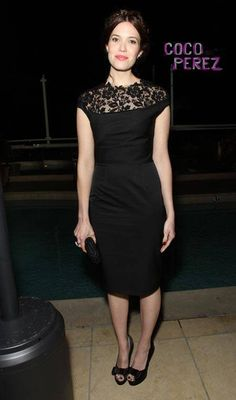 Mandy Moore wearing a Lela Rose LBD. Just need a different color.