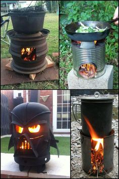 Processing Query Efficient Homemade Wood Burning Stoves And - fancydecors Outside Wood Stove, Diy Wood Stove, Man Cave Items, Stove Heater, Diy Fire Pit, Fire Pits, Fancy Houses, Stove Fireplace, Rocket Stoves