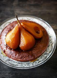 Chocolate Financier with Caramel Tea-Poached Pears