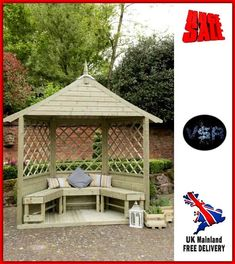 3-Seater Garden Arbour Large Half Outdoor Bench Wood Gazebo Patio Seat Shelter