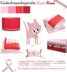 Girl's room inspiratie in pink and red with Bibelotte, Little Dutch accessoires and Perron 11 wall paper figure This is the colour palatte for Lilu's room.
