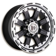 """Black Iron Outcast - Gloss black and machined.  Available in 16"""", 17"""" and 18"""".  Starting at $152.99. http://www.blackironwheels.ca/  #wheel #rim #truck #SUV"""
