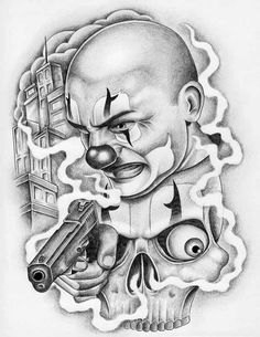 Chicano Clown Tattoo Design - Awesome Chicano clown with the pistol. Chicano Tattoos Gangsters, Lettrage Chicano, Chicano Art Tattoos, Chicano Drawings, Gangster Tattoos, Kunst Tattoos, Dark Art Drawings, Tattoo Design Drawings, Tattoo Designs