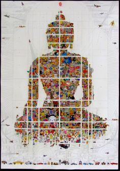 LA Confidential by Gonkar Gyatso, aartsalliance.org #Illustration #Buddha #LA_Confidential #Gonkar_Gyatso #aartsalliance