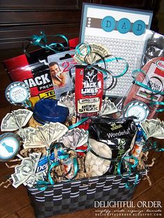 website with tons of gift basket ideas - note: the gift basket in the picture could be created for a new dad to take to the hospital so he'll have snacks during their stay at the hospital when baby is born...