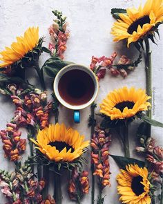 Coffee and flowers are a great combo!