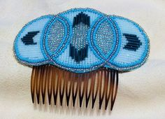 Beaded Hair Comb in Turquoise White and by NorthwestBeadwork, Stephanie Pinkham, Nez Perce