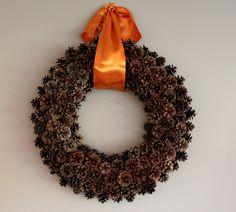 Autumn wreath- use orange ribbon to add fall feel to brown wreath