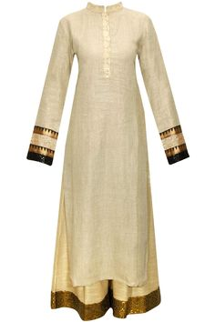 Beige embroidered kurta with shimmer sequins pants available only at Pernia's Pop-Up Shop.