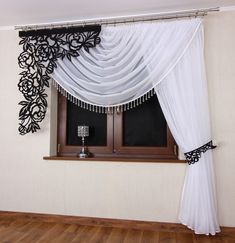 1 million+ Stunning Free Images to Use Anywhere Lace Window, Bay Window Curtains, Hanging Curtains, Curtains With Blinds, Kitchen Curtain Designs, White Valance, Rideaux Design, Interior Paint Colors For Living Room, Curtain Styles
