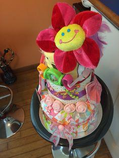 Butterfly garden diaper cake