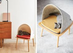 """Meyou Paris offers stylish cat beds and cocoons in tune with the harmony of their owners' modern homes; it's """"classy furniture for the discerning cat. Modern Cat Furniture, Family Furniture, Tree Furniture, Cat Crate, Diy 2019, Cat Shelves, Cat Room, Cat Condo, Pet Mat"""