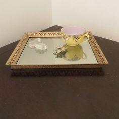 Vintage Gold Filigree Mirrored Rectangular Tray by oZdOinGItagaiN, $12.00