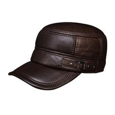 Men s genuine leather baseball cap hat real cow leather beret caps hat -  Catwalkshop a6fd8b599fbc