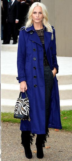 Poppy Delevingne in a cobalt blue Burberry trench coat