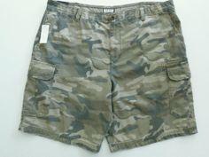 IZOD Men's Cargo Shorts Bermudas 40 Drab Olive Camo Print  NEW