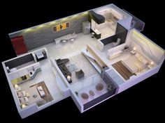 25 Extra 2 Bed room 3D Flooring Plans - http://www.fullhomedesigning.com/25-extra-2-bed-room-3d-flooring-plans