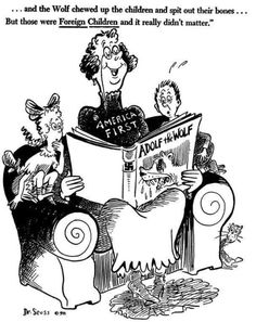 1940s Dr. Seuss ad criticizing America for closing itself to Jews fleeing Nazism in Europe.